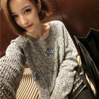 2015 Direct Selling Pullovers Women Sweater New Winter British Brand Selfri*ge Beautiful Handmade Nail Drill Gem Sweater Ym1141