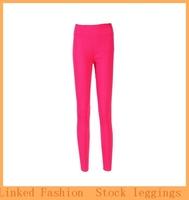 Yoga Pants Capris Candy Color Solid Color High Waist Leggings Sporting Casual Pants