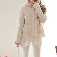 Han Guodong gates Hitz Hemp flowers loose Chiffon stitching knitted sweater YM1008