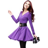 2014 Spring Long Sleeve Korean V-neck Women Dresses Brief Slim Knitted Autumn With Belt High Waist Dress L8021