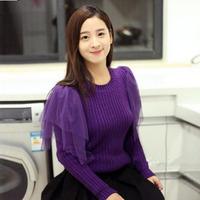 The 2013 New South Korean Hubble bubble sleeve gauze fashion Princess sweater YM1042