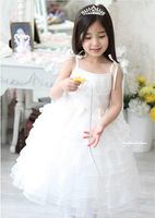 Hot Sale spaghetti straps Flower Girl Dress Tulle Ball Gown Ankle-Length girl pageant dress pink/white 2-12T