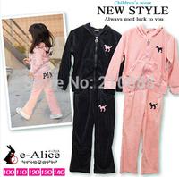 Baby boy's Girl's Tracksuits Children Velvet Pink Logo sport suits Girl's Hooded coat+ pants FREE SHIPPING