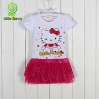 LittleSpring Retail 1 pcs Summer new girls clothes cartoon dress lace children girls dresses