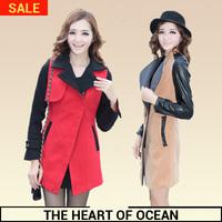Fashion 2014 Wool Slim Long Coat Women Contrast Color Zipper Pocket Turn Down Collar Trench Coat Female Winter Warm Coat W092