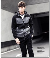 New 2014 Autumn Men's Fashion Clothing hoodies Casual hooded men's fleece Stitching stripe cotton hoodies coat men