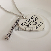 New 2014 Hot Wholesale Doctor Who My Heart Belong To Who Heart With Sonic Screwdrive Pendant Necklace Fan Gift Movies Jewelry