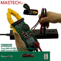 Mastech MS2109A True RMS Auto Range Digital AC DC Clamp Meter 600A Multimeter Volt Amp Ohm HZ Temp Capacitance Tester NCV Test