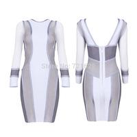 Brand Quality Guarantee Back V Mesh Autumn Dresses Women Fall Winter Long Sleeve Bandage Dress Patchwork High Elastic Wholesale
