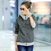 Classic Look Casual Sports Long Sleeve Cotton Women Hoodies 2014 All-match Korean Zipper Fly Winter Sweatshirts 1215