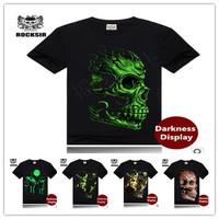 2014 New Men's Fashion brand Cotton Ghost Luminous 3D Light Emitting t-shirt O-neck Short Sleeve casual-shirt S-3XL size 807CY29