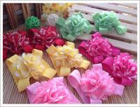 50pairs baby sock flower newborn barefoot flower girl's feet flower headbands striped print shoes flower feet accessories