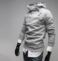 New 2014 Autumn Men's Fashion Clothing hoodies Inclined zipper classical buttons man hoody Add wool hooded fleece