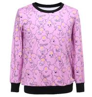 2014 Fashion Women/Men rihanna Pullovers 3D sweatshirt advebture time lumpy princess printed sweaters casual Hoodies top blouse