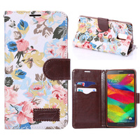 leather flowers colorful case with holder function card For Samsung galaxy note 4 note4 mobile phone Accessories protector cases