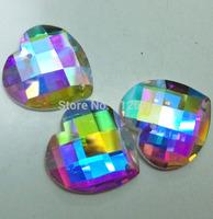 Free shipping 72pcs crystal glass beads flat back no hot fix shiny rhinestone rivoli sew on two holes 16mm garment accessories