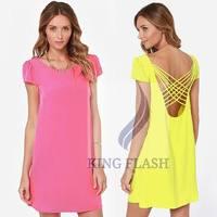 New Design Summer Women Sexy Spaghetti Strap Halter short sleeve Backless Beach Dress Vestidos Mini Dress S- XL SV008665
