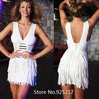 Sexy white fringe v neck metal bodycon sexy women 2014 newest HL bandage dress celebrity dresses