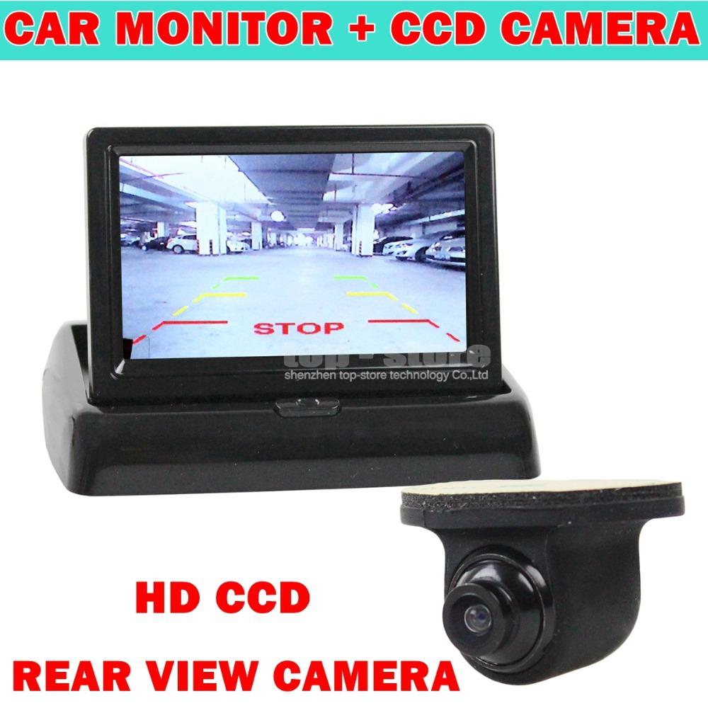 4.3 Inch Car Reversing Camera Kit Back Up Car Monitor LCD Display HD CCD Car Rear View Camera for Rear / Front / Side View(China (Mainland))