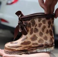 2014 children's rain boots for baby/boys/girls Waterproof&slip shoes new fashion Leopard kids bow rainboots kids shoes ILTX5005