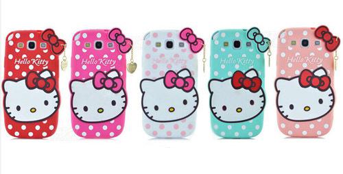 New Fashion 3D Cartoon Hello kitty soft cover cute bowknot cat lovely Pendant phone case for Samsung galaxy S3 i9300 SJ195(China (Mainland))