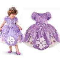 retail girl sophia princess costumes height 90cm-130cm 2t-8 cosplay  kids performance clothes cartoon dress carnival