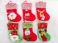 240 pcs wholesale Christmas stockings Lovely deer/snow/Santa Claus holiday gift 3 D socks Christmas decorations  commodity