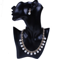 Classic Imitation Pearl Jewelry Sets Gold Plated Clear Crystal High Quality Pearls Party Gifts Free Shipping TL9282