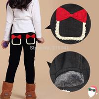 Retail 2014 new kids girls jean bow pants, cotton cashmere pants, elastic waist legging warm pants autumn winter girl jeans