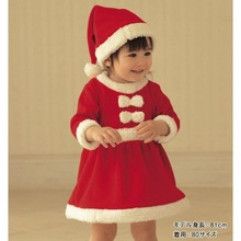 Baby christmas romper baby romper dress cap polar fleece fabric thickening romper hat set free shipping(China (Mainland))
