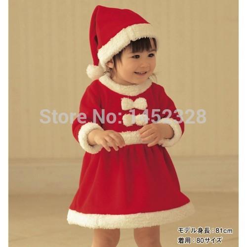 Baby christmas romper baby romper dress cap polar fleece fabric thickening romper hat set free shipping(China (Mainland))