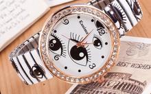 Elastic belt fashion circle diamond jewelry color eyes ladies watch