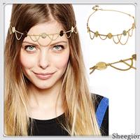 Fashion 2014 New Piercing Tassel chain Headband Gold Smooth sequins Hair chain women Head chain Hair Accessories