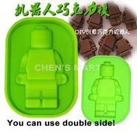 Free Shipping 1 pc 50G Robot People Figure Silicone Mould Chocolate Cake Baking Fondant Decorating Ice Cube Tray For Lego
