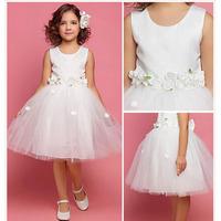 6 2014 white flower girl dresses for weddings girls pageant dresses knee length prom dress children vestido de daminha 2015