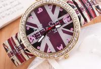 Ms color flag watch elastic belt fashion circle auger adorn article