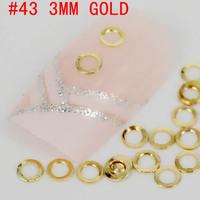 New! hollow round shaped 500pcs 3d metal nail art decoration free shipping Gold/Silver Nail Art Metallic Studs sticker