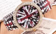 Elastic belt fashion circle diamond jewelry color cross ladies watch