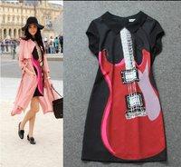 Brand desigual high quality women autumn summer dress,short sleeve Guitar pattern print vestidos casual free shipping,Hot sale