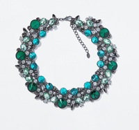 JC100 2014 NEW Fashion ZA Design Blue Green Crystals Stones Costume Statement Necklace For Women Choker High Quality Boutique