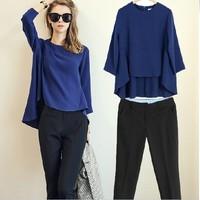 Ladies fashion 2 piece set women suit Office workers clothing 2014 August newest Slim Blue Coat Balck Trousers Good quality