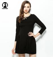 Fancyinn Autumn European New Brand Fashion Lady O-neck Nail Bead Mosaic Casual Women Dress