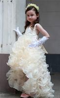 10 2014 high low flower girl dresses for weddings girls pageant dresses hi-lo prom dress children vestido de daminha 2015