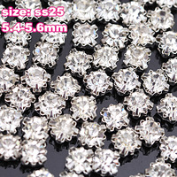 Free Shipping+ SS25  Sizes 5.4mm-5.6mm 1440pc/lot Silver Loose Crystal Sew On Rhinestones, Metal Findings for Jewelry Making