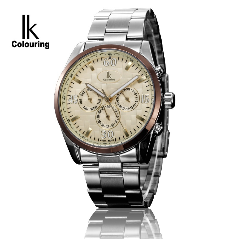 Luxury Men News Product 2014 IKcolouring Tag Brand Automatic Watch Self-Wind Multi Functional 3Eyes Design Mechanical Hot Clock(China (Mainland))