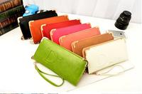 Women fashion brand wallets long designer leather purse zipper clutch bag free shipping
