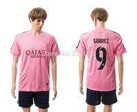 High  Quality   Home  Away   Suarez     Messi    Neymar JR   training suit    2015    Soccer Jerseys Free Shipping