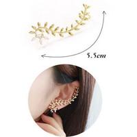 Korean brand design women's quality leaf shape earring clip gold plated crystal brand newest earring clip ear cuff women