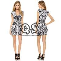 2014 New Leopard Printed V-neck Sleeveless Casual Mini A-line Dress Slim Wild style X371