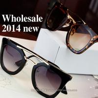 free shipping brand D Classic Gold Mirrored Sunglasses women 2014 fashion cat ear Beam sun Glasses oculos de grau femininos